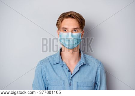 Close-up Portrait Of His He Nice Attractive Blonde Guy Wear Casual Outfit Safety Mask Stop Flue Infl