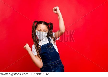 Portrait Of Her She Nice Attractive Girl Having Fun Wear Safety Mask Casual Jeans Overall Stop Pande