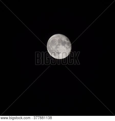 Full Moon In The Night Sky, Great Super Moon In Sky
