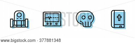 Set Line Skull, Grave With Tombstone, Beat Dead In Monitor And Holy Bible Book Icon. Vector