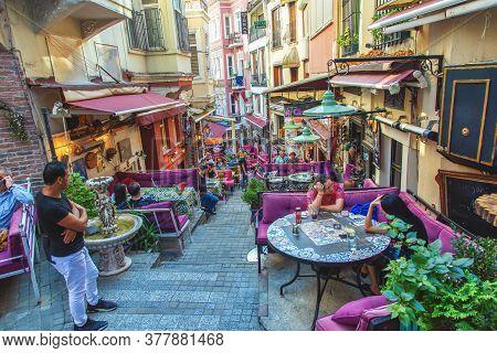 Istanbul, Turkey: Colorful Street With Cafe In Cihangir Quarter, Beyoglu District, On September 14,