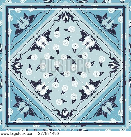 Seamless Pattern Based On Square Ornament Paisley Bandana Print For Boys And Girls. Motive For Print