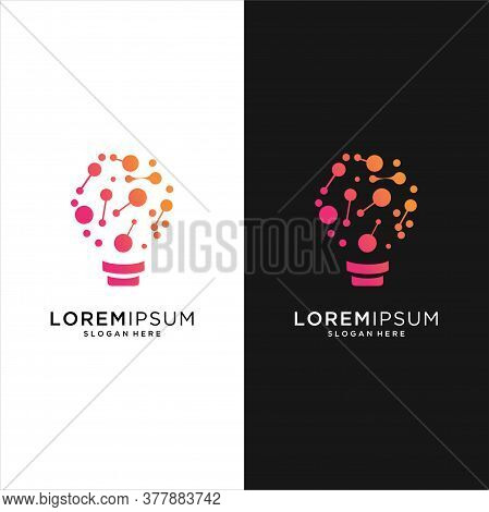 Modern Tech Bulb Logo Designs Concept, Pixel Technology Bulb Idea Logo Template, Idea Logo Design In