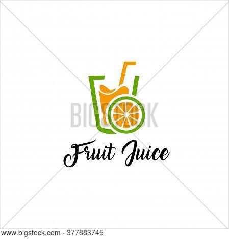 Fruit Juice Logo Design Element, Fresh, Vibrant, Juicy, Organic, Trendy, Isolated