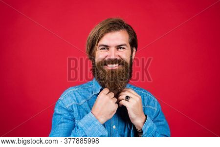 Express Happiness. Happy Brutal Caucasian Hipster With Moustache. Male Barber Care. Bearded Man. Hai