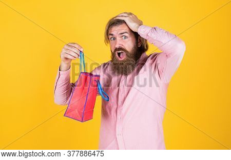 Paper Shopping Bag. Birthday Surprise At Party. Man With Package. Prepare For Holidays. Best Sale Of