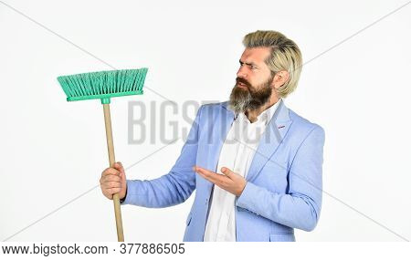 Clear Reputation. Hipster Hold Cleaning Tool. Man Use Broom. Businessman Sweeping Office. Unemployme