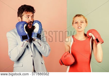 Fight For Your Happiness. Bearded Man Hipster Fighting With Woman. Problems In Relationship. Sport.