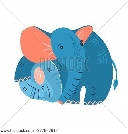Young Blue Baby Elephant With Mother On A White Background. Illustration For Mothers Day. Mom Hugs T