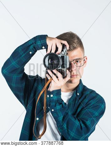 Busy At Work. Digital Camera Technology. Young Teen Reporter. Travel Photo Concept. Boy In Casual We