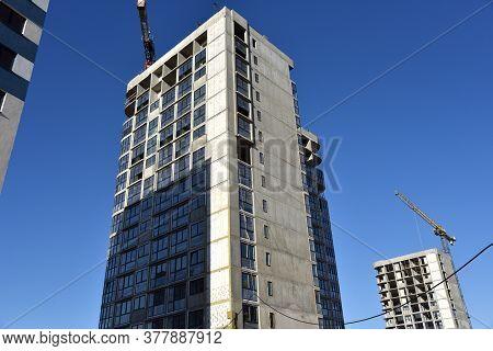 Construction Site, Tower Crane, Apartment, Background, Blue, Building, Buildings, City, Commercial,