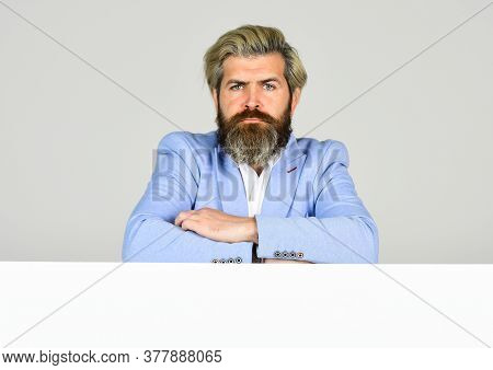 Business Aspirations. Formal Male With Copy Space. Stylish Man Wear Glamour Blue Jacket. Management