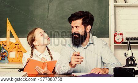 Fascinating Lesson. School Teacher And Schoolgirl. Pedagogue Skills. Talented Pedagogue. Work Togeth