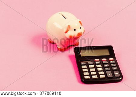 Taxes And Fees Concept. Tax Savings. Piggy Bank Money Savings. Investing Gain Profit. Pay Taxes. Cal