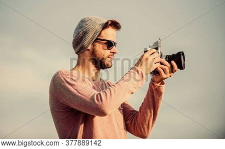 Manual Settings. Photojournalist Concept. Travel Blogger. Professional Photographer. Handsome Photog