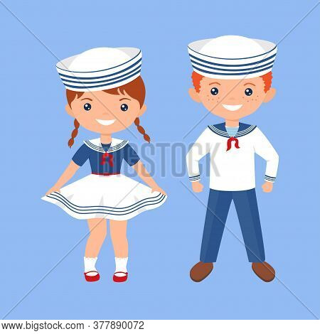 Cute Chibi Characters Boy And Girl In Sailor Suits. Professions For Kids. Flat Cartoon Style