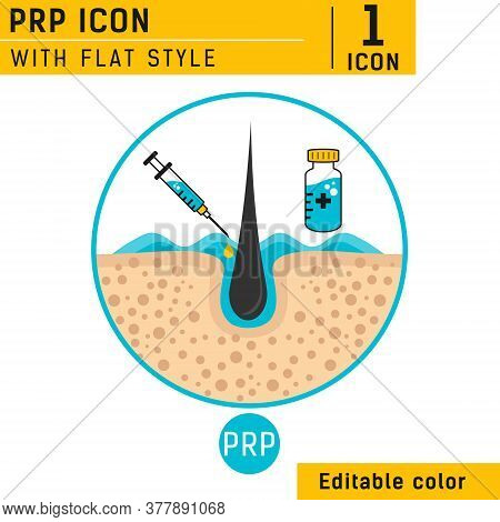 Platelet Rich Plasma Design Template With A Syringe And A Follicle For Hair Loss Treatment. Platelet