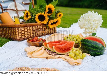 Summer Picnic Concept On Sunny Day With Watermelon, Fruit, Bouquet Hydrangea And Sunflowers Flowers.