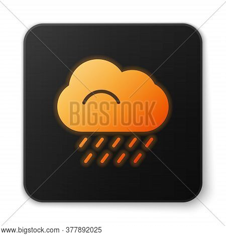 Orange Glowing Neon Cloud With Rain Icon Isolated On White Background. Rain Cloud Precipitation With
