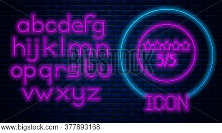 Glowing Neon Consumer Or Customer Product Rating Icon Isolated On Brick Wall Background. Neon Light