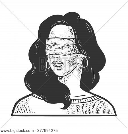 Blindfolded Girl Sketch Engraving Vector Illustration. T-shirt Apparel Print Design. Scratch Board I