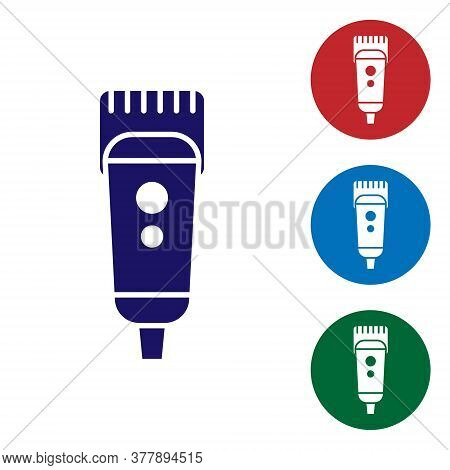 Blue Electrical Hair Clipper Or Shaver Icon Isolated On White Background. Barbershop Symbol. Set Ico