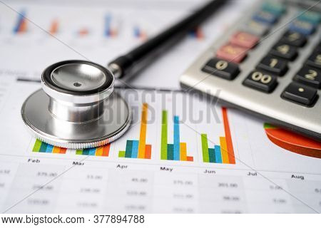 Stethoscope And Us Dollar Banknotes On Chart Or Graph Paper, Financial, Account, Statistics And Busi