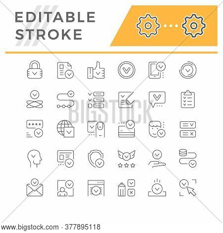 Set Line Icons Of Approval Isolated On White. Thumb Up, Person Approving, Money Transfer, Credit Or