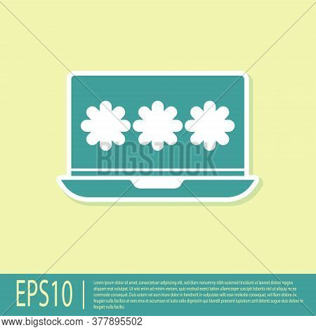 Green Laptop With Password Notification Icon Isolated On Yellow Background. Security, Personal Acces