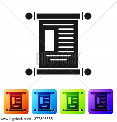 Black Decree, Paper, Parchment, Scroll Icon Icon Isolated On White Background. Chinese Scroll. Set I