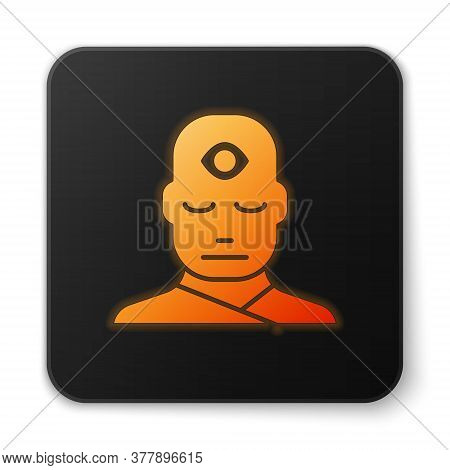 Orange Glowing Neon Man With Third Eye Icon Isolated On White Background. The Concept Of Meditation,