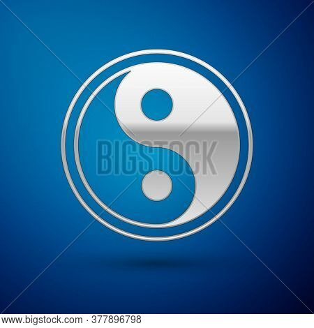 Silver Yin Yang Symbol Of Harmony And Balance Icon Isolated On Blue Background. Vector Illustration