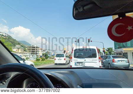 Alanya, Turkey - 23 Jun, 2019: Driving At Turkey Concept. Car In The Traffic Jam In The Middle Of Th