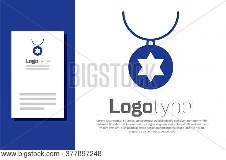 Blue Star Of David Necklace On Chain Icon Isolated On White Background. Jewish Religion. Symbol Of I