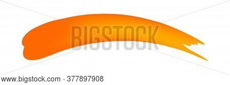 Orange Brush Marks Isolated On White, Brushstroke For Watercolor Paint Idea, Orange Stripe Brush And
