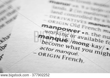 Word Or Phrase Manque In A Dictionary