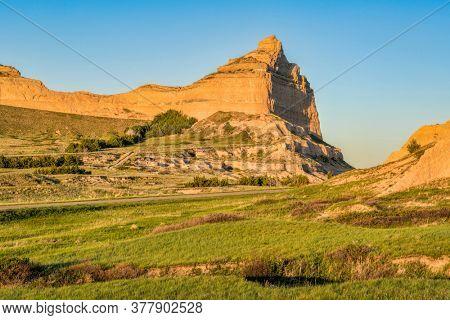 Scotts Bluff National  Monument in Nebraska, spring scenery in sunset light