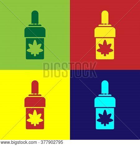 Pop Art Medical Marijuana Or Cannabis Leaf Olive Oil Drop Icon Isolated On Color Background. Cannabi