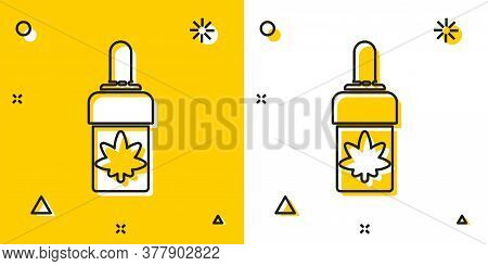 Black Medical Marijuana Or Cannabis Leaf Olive Oil Drop Icon Isolated On Yellow And White Background