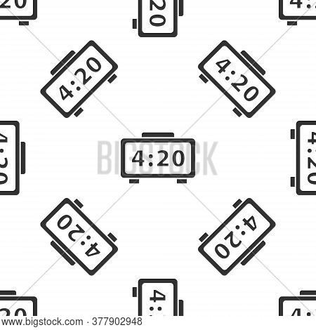 Grey Digital Alarm Clock Icon Isolated Seamless Pattern On White Background. Electronic Watch Alarm