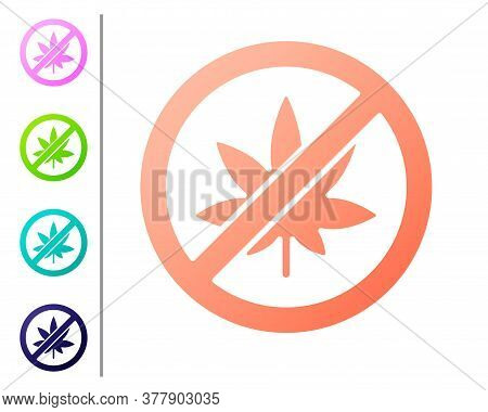 Coral Stop Marijuana Or Cannabis Leaf Icon Isolated On White Background. No Smoking Marijuana. Hemp