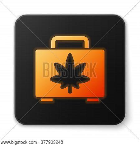 Orange Glowing Neon Shopping Box Of Medical Marijuana Or Cannabis Leaf Icon Isolated On White Backgr