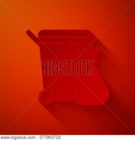Paper Cut Trash Can And Garbage Bag Icon Isolated On Red Background. Garbage Bin Sign. Recycle Baske