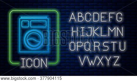 Glowing Neon Washer Icon Isolated On Brick Wall Background. Washing Machine Icon. Clothes Washer - L