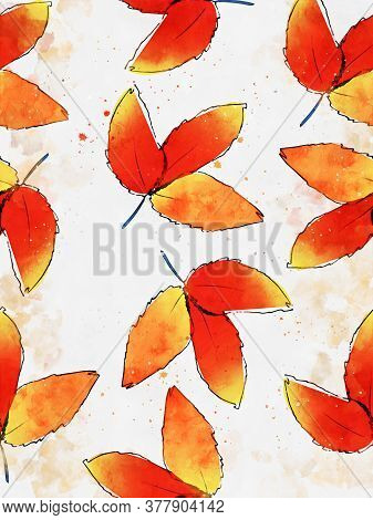 Red Leaf In Autumn, Digital Watercolor Painting, Art For Wall