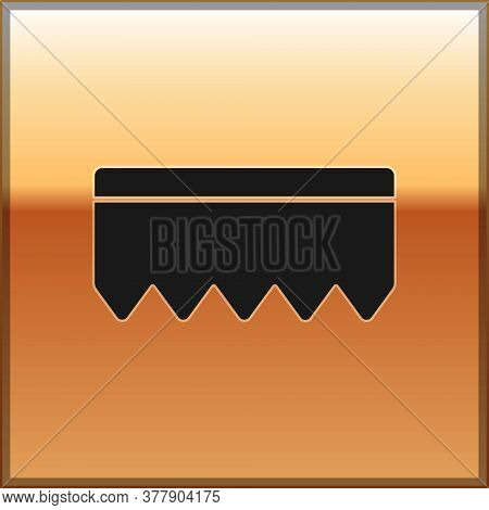 Black Sponge With Bubbles Icon Isolated On Gold Background. Wisp Of Bast For Washing Dishes. Cleanin