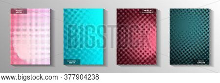 Futuristic Circle Faded Screen Tone Cover Page Templates Vector Set. Digital Banner Perforated Scree