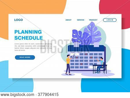 Vector Illustration. Character 2 Business People Make A Schedule Online On A Tablet. Design Scheduli