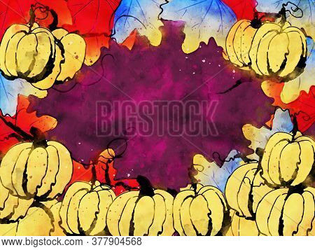 Pumpkins With Leaves In Autumn, Fall Season Background, Digital Watercolor Painting