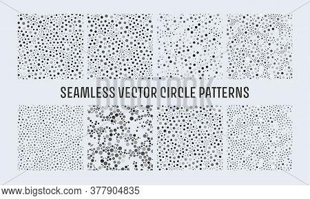 Dots Noise Black Seamless Pattern. Vector Polka Pattern. Confetti Background. Creative Geometric Wal